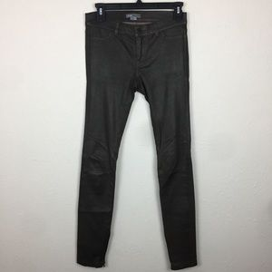 Vince Green Leather Skinny Ankle Zip Pants Sz 2